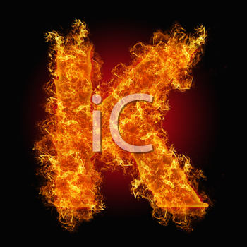 Fire letter K on a black background