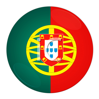 Abstract illustration: button with flag from Portugal country