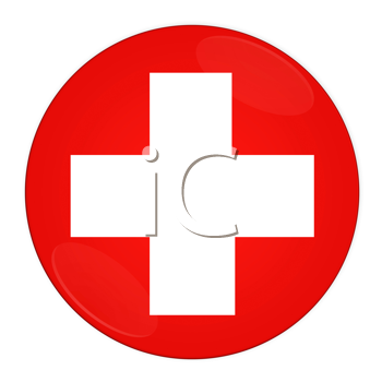 Abstract illustration: button with flag from Switzerland country