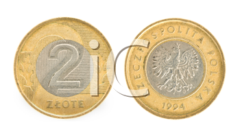 Royalty Free Clipart Image of Two Zloty, Money of Poland