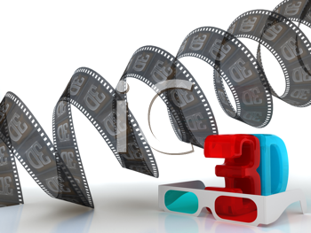 Royalty Free Clipart Image of 3D Film and Cinema Glasses