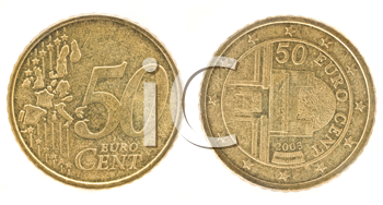Royalty Free Clipart Image of Fifty Euro Cents