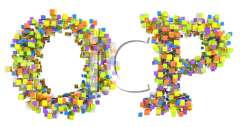 Royalty Free Clipart Image of Abstract Letters Made of Cubes