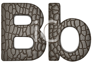 Royalty Free Clipart Image of Alligator Skin Font B Lowercase and Capital Letters