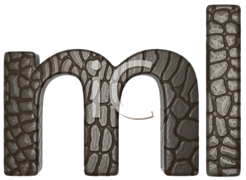 Royalty Free Clipart Image of Alligator Skin Font of M and L