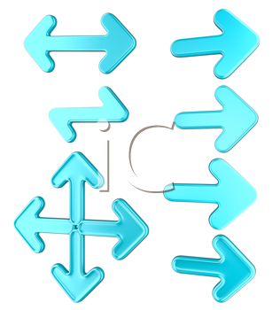 Royalty Free Clipart Image of a Set of Blue Arrows