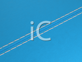 Royalty Free Clipart Image of a Blue Diagonal Stitched Leather Background