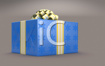 Royalty Free Clipart Image of a Blue Present