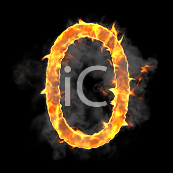 Royalty Free Clipart Image of a Burning Number Zero