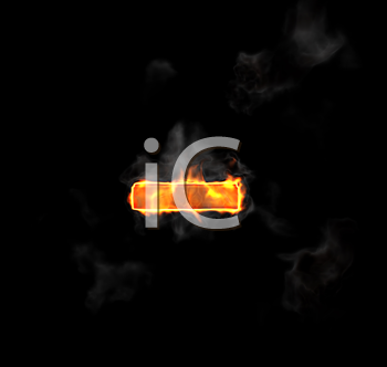 Royalty Free Clipart Image of a Burning Minus Symbol