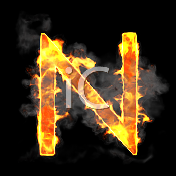Royalty Free Clipart Image of a Burning Letter N