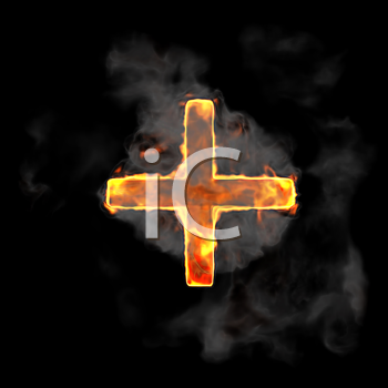 Royalty Free Clipart Image of a Burning Plus Symbol