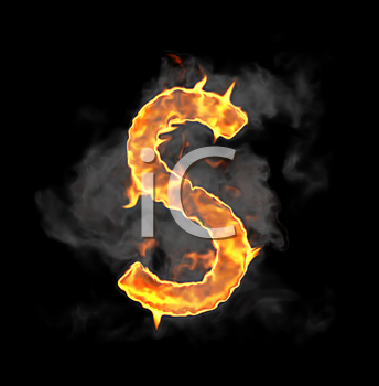 Royalty Free Clipart Image of a Burning Letter S