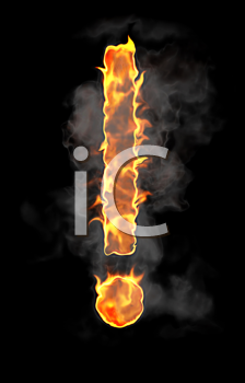 Royalty Free Clipart Image of a Flaming Exclamation Mark