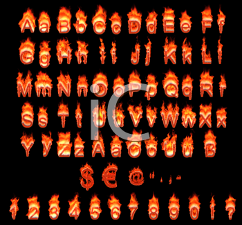 Royalty Free Clipart Image of a Burning German Alphabet and Numbers