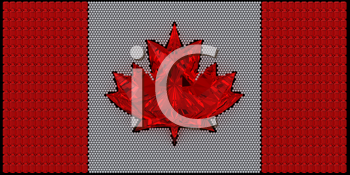 Royalty Free Clipart Image of a Canadian Flag Made of Diamonds
