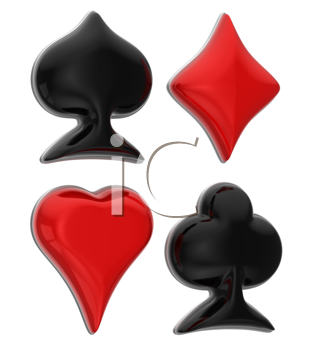 Royalty Free Clipart Image of Glossy Card Suits