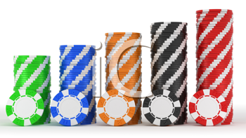 Royalty Free Clipart Image of Stacks of Casino Chips