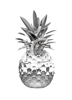 Royalty Free Clipart Image of a Chromed Pineapple