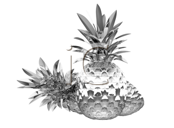 Royalty Free Clipart Image of Chromed Pineapples
