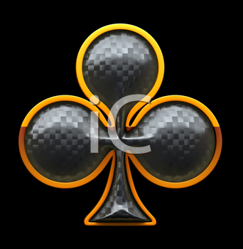 Royalty Free Clipart Image of a Textured Club Suit