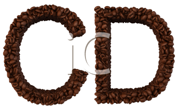Royalty Free Clipart Image of Roasted Coffee Font C and D