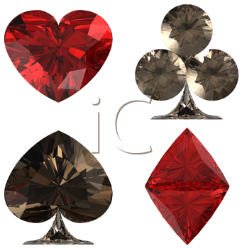 Royalty Free Clipart Image of Diamond Encrusted Card Suits