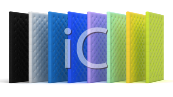 Royalty Free Clipart Image of a Collection of Colorful Mattresses