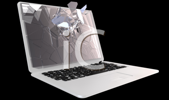 Royalty Free Clipart Image of a Broken Laptop