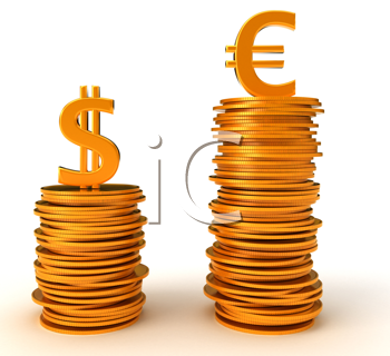 Royalty Free Clipart Image of Advantage of Euro Dollar Over US Currency