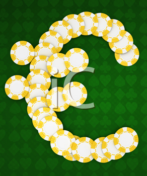 Royalty Free Clipart Image of Casino Chips Forming a Euro Symbol