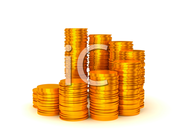 Royalty Free Clipart Image of Stacks of Coins