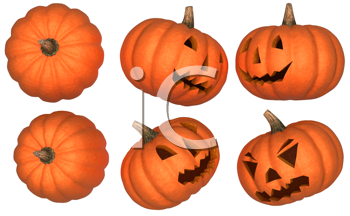 Royalty Free Clipart Image of Halloween Pumpkins