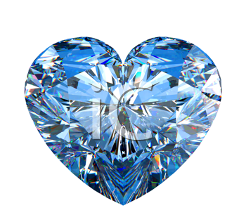 Royalty Free Clipart Image of a Heart Shaped Diamond