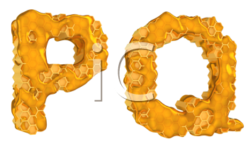 Royalty Free Clipart Image of the Letters P and Q in Honey