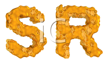 Royalty Free Clipart Image of the Letters S and R in Honey