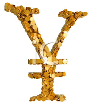 Royalty Free Clipart Image of a Yen Currency Symbol Made of Coins