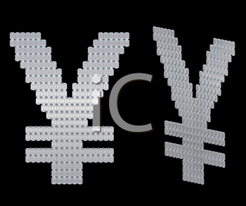 Royalty Free Clipart Image of Japanese Yen Symbol Assembled of Diamonds