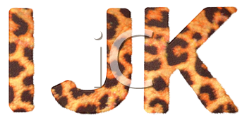 Royalty Free Clipart Image of Leopard Print I, J and K