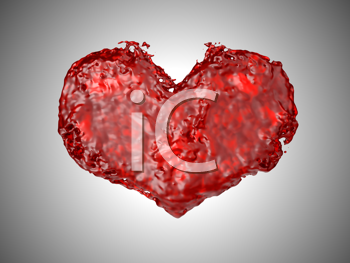 Royalty Free Clipart Image of a Liquid Heart Background