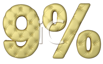Royalty Free Clipart Image of a Percentage Made of Beige Leather