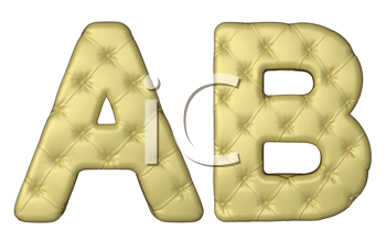 Royalty Free Clipart Image of Beige Leather Font of A and B
