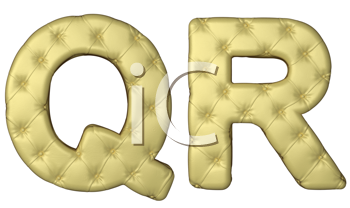 Royalty Free Clipart Image of Beige Leather Font of Q and R