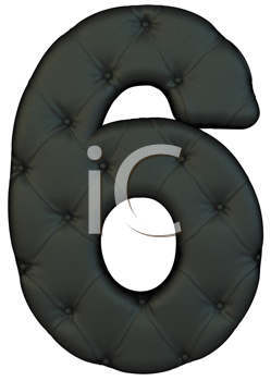 Royalty Free Clipart Image of a Black Leather Number Six