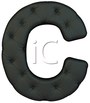 Royalty Free Clipart Image of a Black Leather Font C
