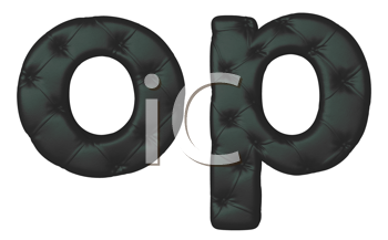 Royalty Free Clipart Image of Stitched Leather Font O and P