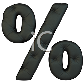 Royalty Free Clipart Image of a Percentage Sign Made of Black Leather