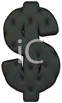 Royalty Free Clipart Image of a Leather Dollar Sign