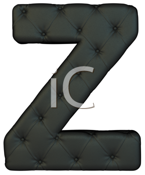 Royalty Free Clipart Image of a Black Leather Font Z