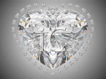 Royalty Free Clipart Image of a Diamond Heart